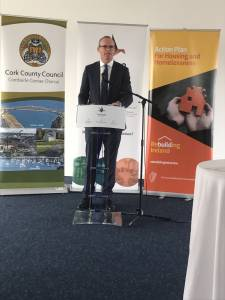 Minister for Housing, Simon Coveney, speaks at the Tabor Group's announcement of a €4.8m development of an addiction treatment center in Cork.